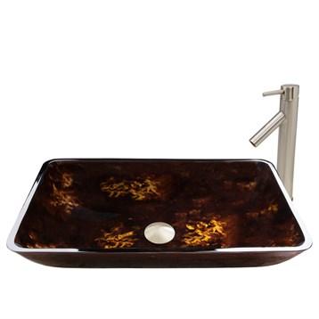Vigo Rectangular Brown and Gold Fusion Glass Vessel Sink and Dior Faucet Set VGT475- by Vigo Industries