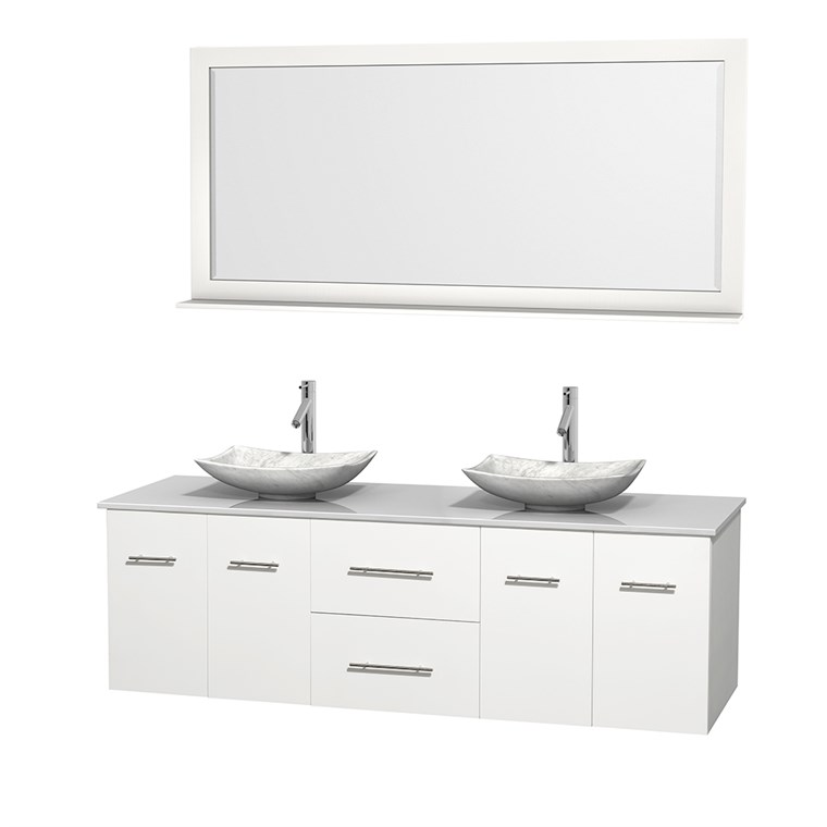 "Centra 72"" Double Bathroom Vanity for Vessel Sinks by Wyndham Collection - Matte White WC-WHE009-72-DBL-VAN-WHT_"