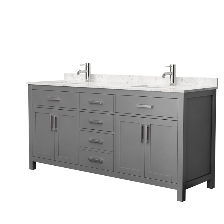 "Beckett 72"" Double Bathroom Vanity by Wyndham Collection - Dark Gray WC-2424-72-DBL-VAN-DKG"