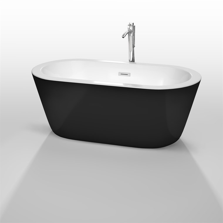 "Mermaid 60"" Soaking Bathtub by Wyndham Collection - Black WC-BTE1003-60-BLK"