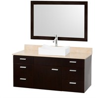 "Encore 52"" Bathroom Vanity Set - Espresso with Ivory Marble Countertop CG4000-52-ESP-OM-IVO"