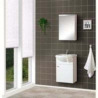 "Bath Authority DreamLine 17"" Wall-Mounted Modern Bathroom Vanity - w/Counter and Medicine Cabinet - White DLVRB-101-WH"