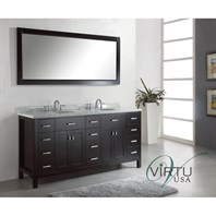 "Virtu USA 72"" Caroline Parkway Double Bathroom Vanity - Espresso MD-2172"