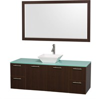 "Amare 60"" Wall-Mounted Single Bathroom Vanity Set with Vessel Sink by Wyndham Collection - Espresso WC-R4100-60-ESP-SGL"