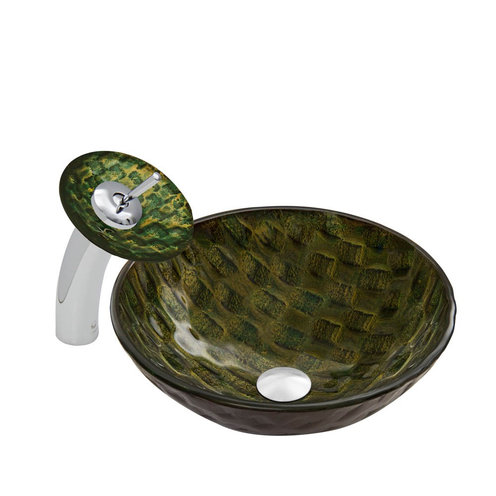 VIGO Amazonia Glass Vessel Sink and Waterfall Faucet Setnohtin Sale $240.90 SKU: VGT051 :