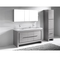 "Madeli Vicenza 60"" Double Bathroom Vanity For X-Stone - Ash Grey B999-60CD-001-AG-XSTONE"