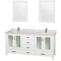 "Lucy 72"" Double Bathroom Vanity Set Undermount by Wyndham Collection - White WC-MS015-72-WHT-UNDER"