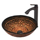 VIGO Golden Greek Glass Vessel Sink and Linus Faucet Set in Antique Rubbed Bronze Finish VGT371