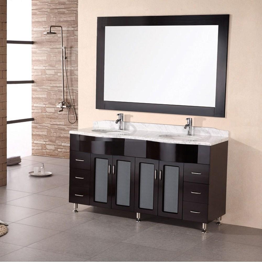 "Design Element Tustin 61"" Double Sink Vanity Set - Espressonohtin Sale $1699.00 SKU: DEC096 :"