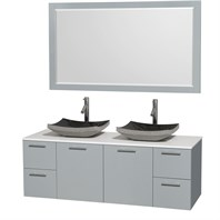 "Amare 60"" Wall-Mounted Double Bathroom Vanity Set with Vessel Sinks by Wyndham Collection - Dove Gray WC-R4100-60-DVG-DBL"