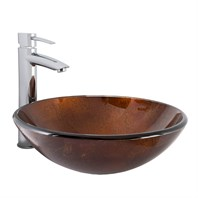 VIGO Russet Glass Vessel Bathroom Sink and Shadow Bathroom Vessel Faucet in Chrome VGT1028
