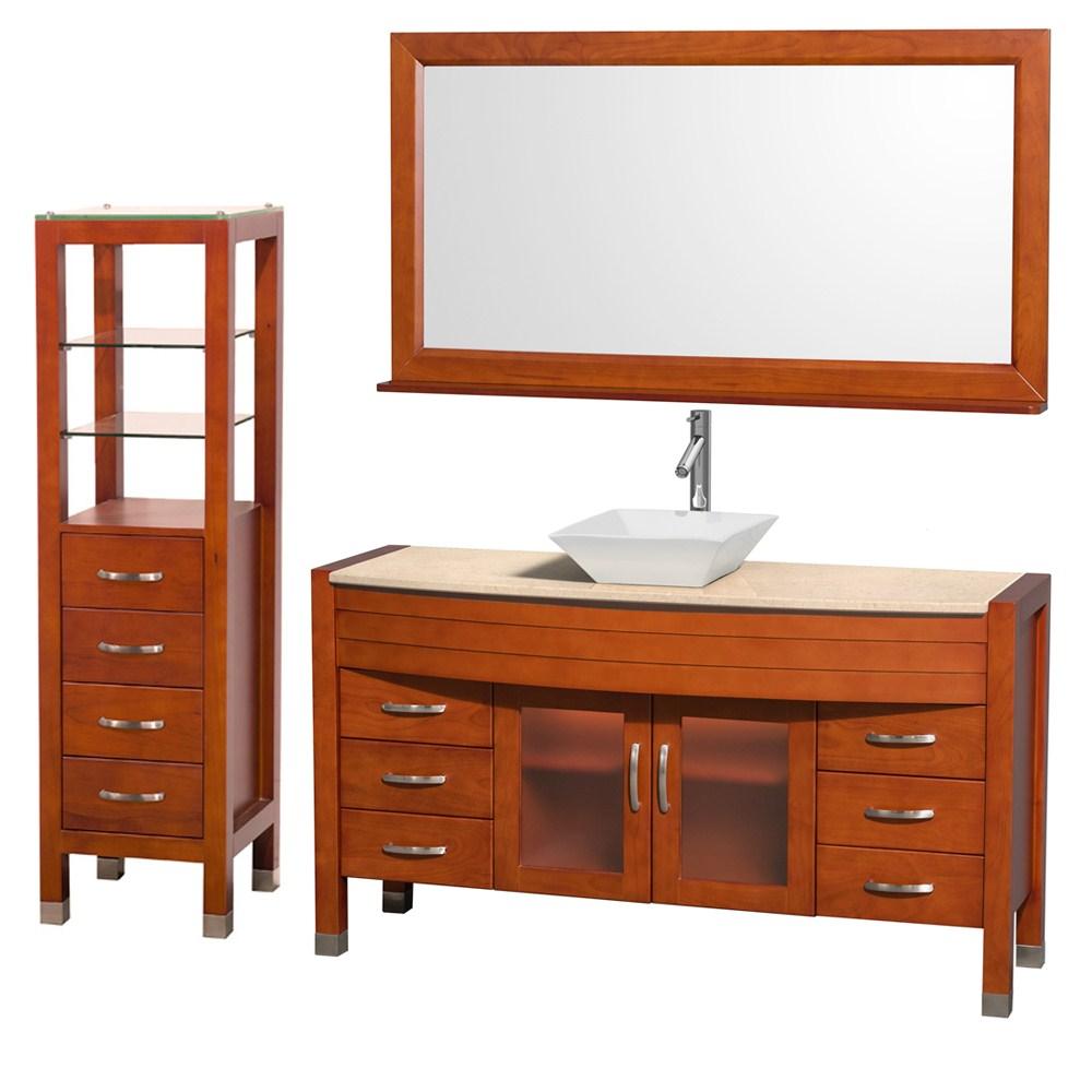 "Daytona 60"" Bathroom Vanity with Vessel Sink, Mirror and Cabinet by Wyndham Collection - Cherrynohtin Sale $1999.00 SKU: WC-A-W2109-60-T-CH-SET- :"