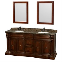 "Roxbury 72"" Traditional Double Bathroom Vanity by Wyndham Collection - Cherry WC-J232-72-DBL-VAN-CHE"