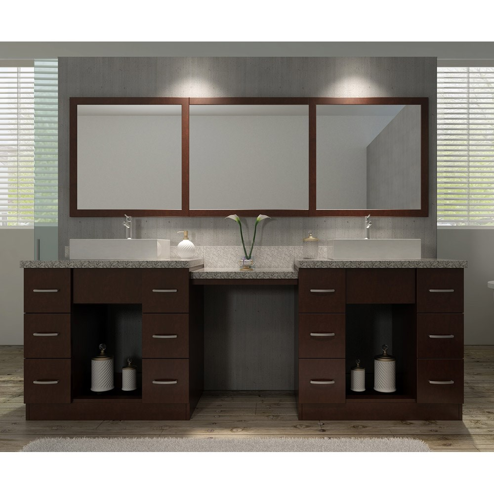 "Ariel Roosevelt 97"" Double Sink Vanity Set With Tiger Skin White Granite Countertop - Walnut"
