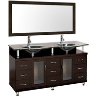 "Accara 60"" Double Bathroom Vanity - Espresso w/ Clear or Frosted Glass Counter B706D-60-ESP"