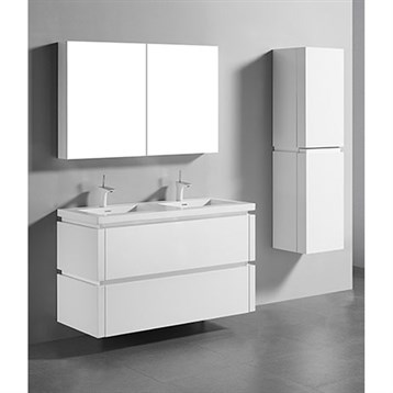 """Madeli Cube 48"""" Double Wall-Mounted Bathroom Vanity for Integrated Basin, Glossy White B500-48D-002-GW by Madeli"""