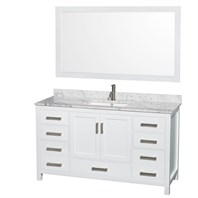"Sheffield 60"" Single Bathroom Vanity by Wyndham Collection - White WC-1414-60-SGL-VAN-WHT"