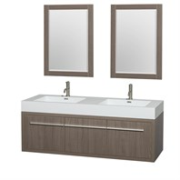 "Axa 60"" Wall-Mounted Bathroom Vanity Set With Integrated Sinks by Wyndham Collection - Gray Oak WC-R4300-60-VAN-GRO"