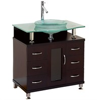"Charlton 30"" Bathroom Vanity with Drawers - Espresso w/ Clear or Frosted Glass Counter"