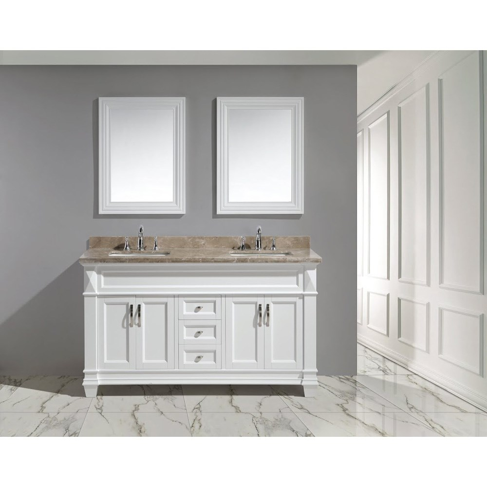"Design Element Hudson 60"" Double Sink Vanity Set with Marble Top - Whitenohtin Sale $1899.00 SKU: DEC059C-W-G :"