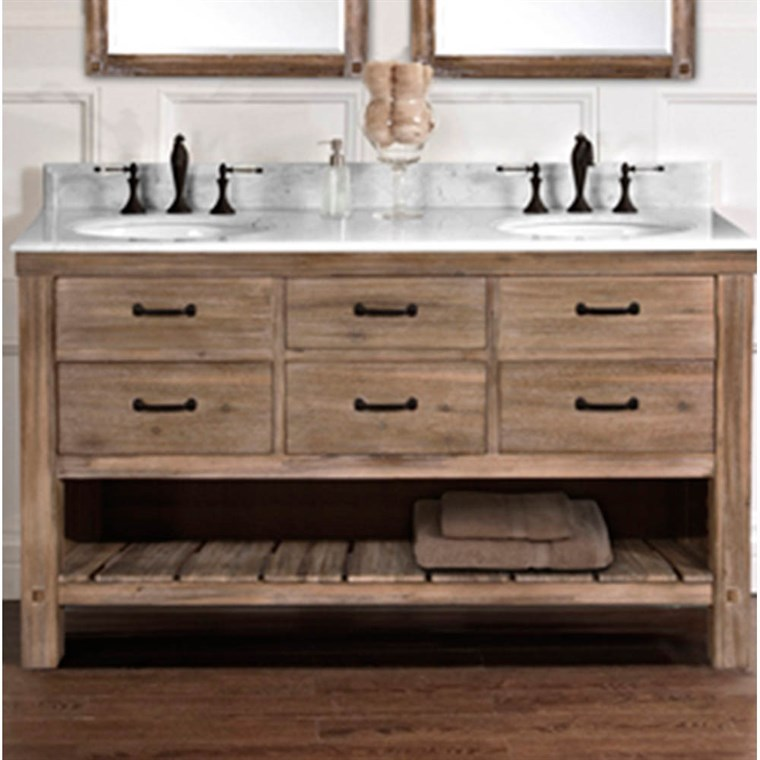 "Fairmont Designs Napa 60"" Double Bowl Open Shelf Vanity - Sonoma Sand 1507-VH6021D"