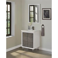 "Fairmont Designs Park Central 24"" Vanity for Integrated Top - Glossy White / Silvered Oak 1531-V24-"