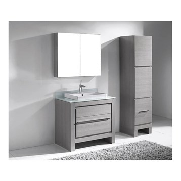 """Madeli Vicenza 36"""" Bathroom Vanity for Glass Counter and Porcelain Basin, Ash Grey B999-36-001-AG-GLASS by Madeli"""