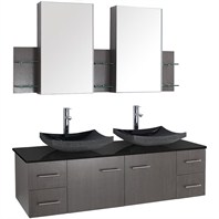 "Bianca 60"" Wall-Mounted Double Bathroom Vanity - Grey Oak Finish with Black Granite Countertop WHE007-60-GROAK-BLK"