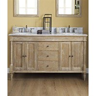 "Fairmont Designs Rustic Chic 60"" Vanity-Double Bowl - Weathered Oak 142-V6021D"