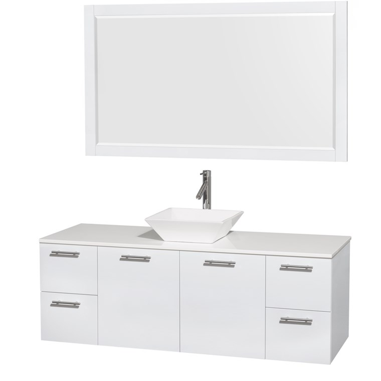 "Amare 60"" Wall-Mounted Single Bathroom Vanity Set with Vessel Sink by Wyndham Collection - Glossy White WC-R4100-60-WHT-SGL"