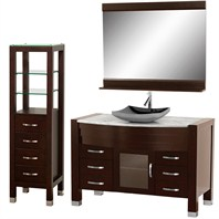 "Daytona 55"" Bathroom Vanity Set - Espresso Finish w/ Drawers & Cabinet A-W2109T-55-ESP-WHTCAR-SET"