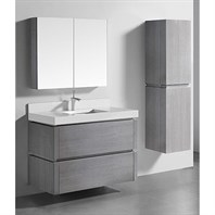 "Madeli Cube 42"" Wall-Mounted Bathroom Vanity for Quartzstone Top - Ash Grey B500-42-002-AG-QUARTZ"