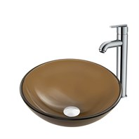 VIGO Sheer Sepia Frost Glass Vessel Sink and Seville Faucet Set VGT865-