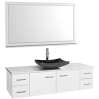 "Bianca 60"" Wall-Mounted Single Bathroom Vanity - White WHE007-60-WHT-SGL"