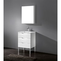 "Madeli Milano 24"" Bathroom Vanity with Quartzstone Top - Glossy White Milano-24-GW-Quartz"