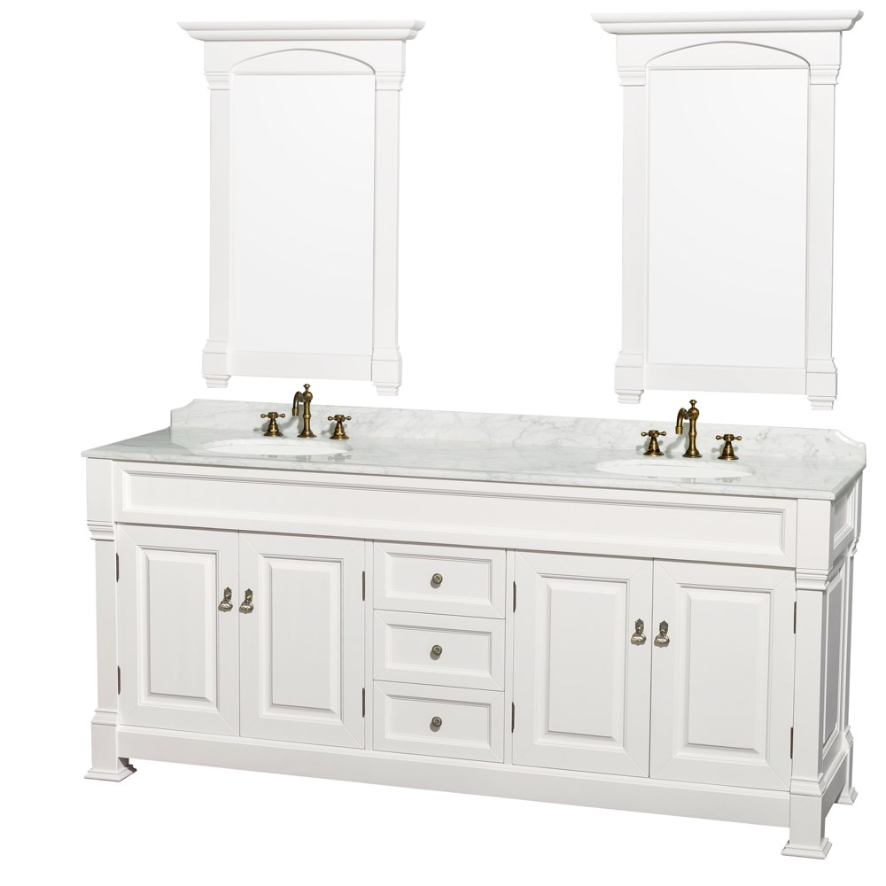 """Andover 80"""" Traditional Bathroom Double Vanity Set by Wyndham Collection - Whitenohtin Sale $2399.00 SKU: WC-TD80-WHT :"""