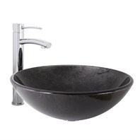 VIGO Gray Onyx Glass Vessel Sink and Milo Bathroom Vessel Faucet in Chrome VGT1031