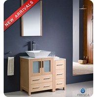 "Fresca Torino 36"" Light Oak Modern Bathroom Vanity with Side Cabinet, Vessel Sink, and Mirror FVN62-2412LO-VSL"