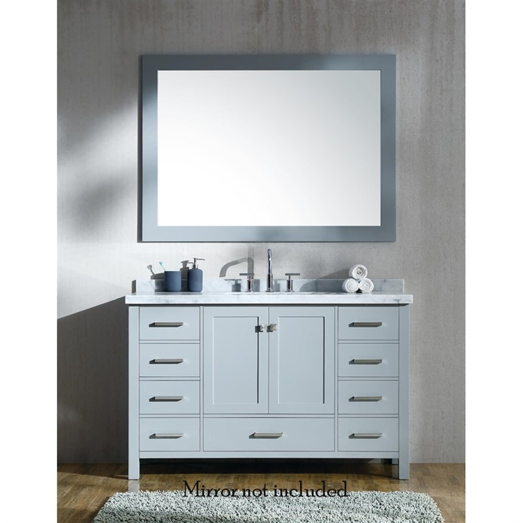 "Ariel Cambridge 55"" Single Sink Vanity with Rectangle Sink and Carrara White Marble Countertop - Grey A055SCWRVOGRY"