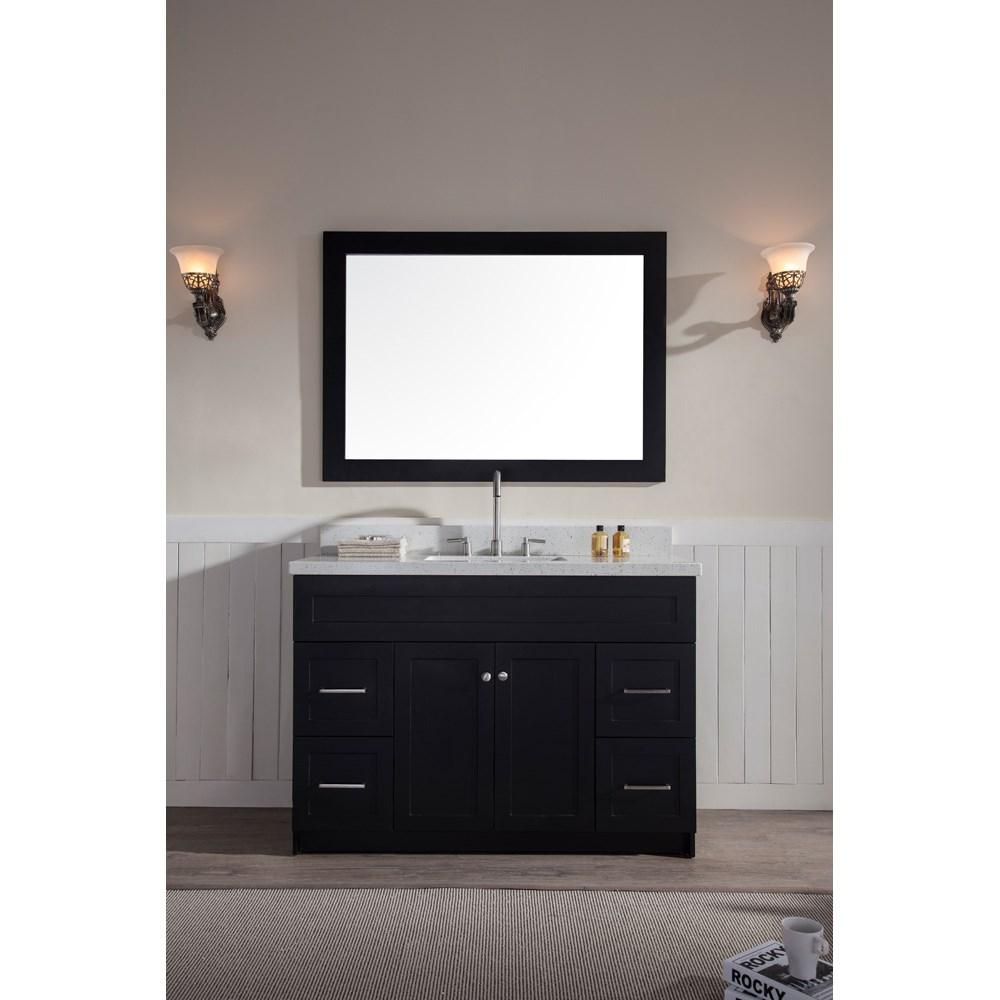 "Ariel Hamlet 49"" Single Sink Vanity Set with White Quartz Countertop in Blacknohtin Sale $1299.00 SKU: F049S-WQ-BLK :"