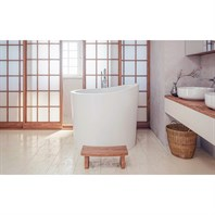 Aquatica True Ofuro Mini Freestanding Stone Japanese Soaking Bathtub - Matte White Aquatica True Ofuro Mini-Wht