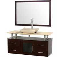 "Accara 48"" Wall Mounted Bathroom Vanity with Drawers - Espresso w/ Ivory Marble Counter B706-WM-48-ESP-IVO"
