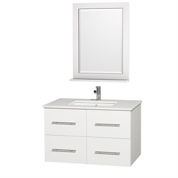 """Centra 36"""" Single Bathroom Vanity for Undermount Sinks by Wyndham Collection, Matte White WC-WHE009-36-SGL-VAN-WHT- by Wyndham Collection®"""