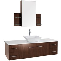 "Bianca 60"" Wall-Mounted Single Bathroom Vanity - Zebrawood WHE007-60-ZEBRA-SGL"