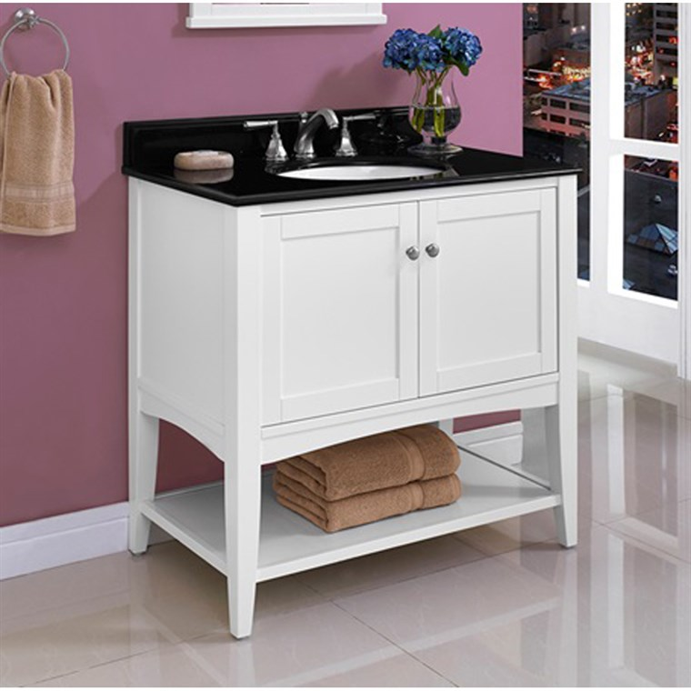 "Fairmont Designs Shaker Americana 36"" Vanity - Open Shelf - Polar White 1512-VH36_"