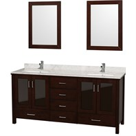 "Lucy 72"" Double Bathroom Vanity Set Undermount by Wyndham Collection - Espresso WC-MS015-72-ESP-UNDER"