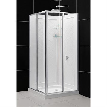 Delicieux Bath Authority DreamLine Cornerview Framed Sliding Shower Enclosure And Double  Threshold Shower Base And QWALL 4 Shower Backwalls Kit (36 X 36) | Free ...