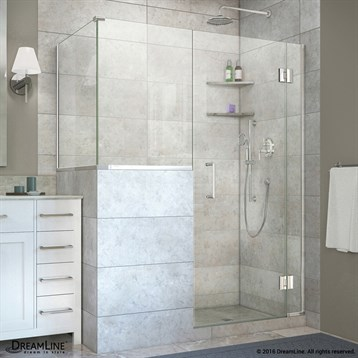 "DreamLine Unidoor-X 47, 48"" W x 30.375"" D Hinged Shower Enclosure with 18"" W Inline Buttress Panel... by Bath Authority DreamLine"