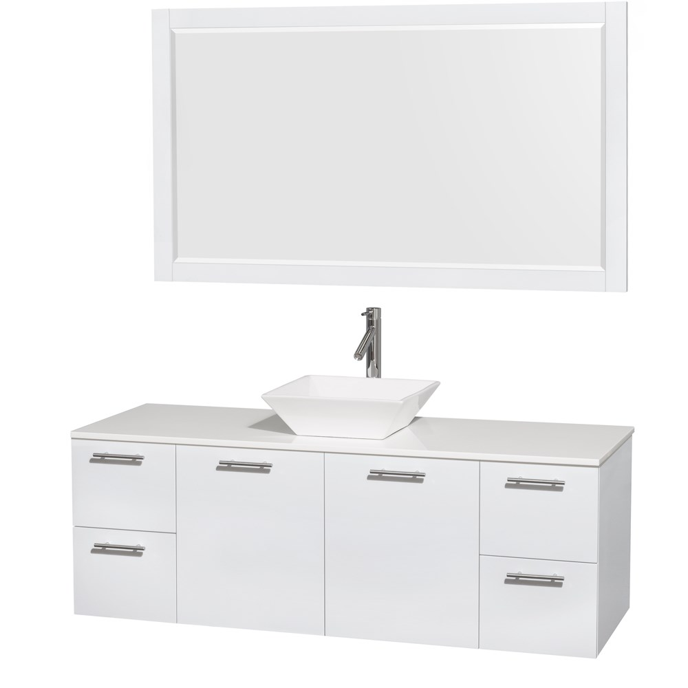 "Amare 60"" Wall-Mounted Single Bathroom Vanity Set with Vessel Sink by Wyndham Collection - Glossy White"