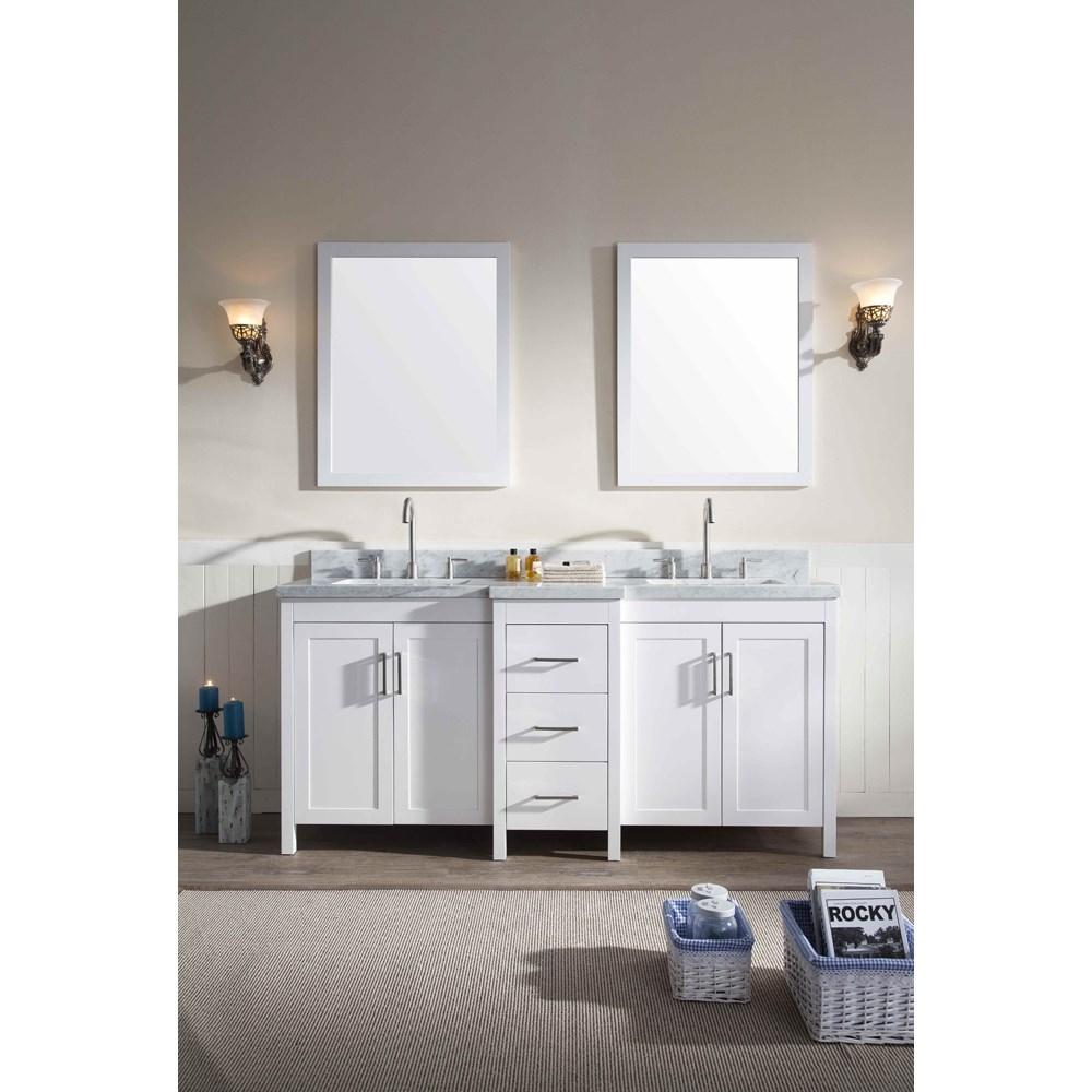 "Ariel Hollandale 73"" Double Sink Vanity Set with Carrera White Marble Countertop - Whitenohtin Sale $2249.00 SKU: E073D-WHT :"